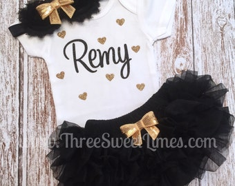 Personalized Baby Girl Outfit | Bodysuit Optional Tutu Bloomer Headband | New Baby Shower Gift | Black And Gold | Take Home Outfit | Clothes