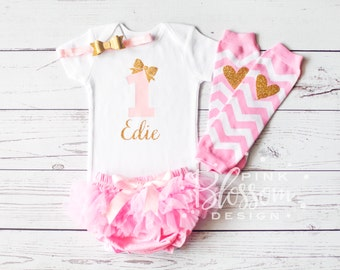 First Birthday Outfit Girl, 1st Birthday Shirt, First Birthday Onesie, Personalized, BODYSUIT ONLY Girls Gold Pink Outfit, 2nd Birthday