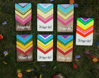 Mini rainbow OH HAPPY DAY chevron polkadot sign