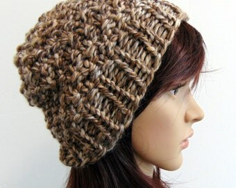Chunky Knit Beanie Hat Women's Winter Hat Brown Tan Sandstone Soft Wool Handmade in Alaska Alaskan Knit Gifts Alaska Gift
