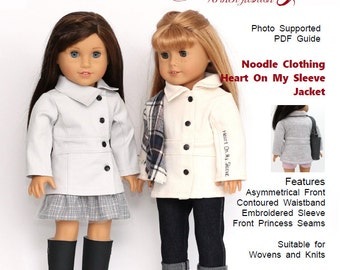 18 inch Doll Clothes PDF Pattern-  Noodle Clothing - Heart On My Sleeve Jacket fits dolls such as American Girl®