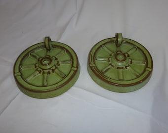 Rare Vintage Frankoma Wagon Wheel Candleholder and Ashtray/ Prairie Green Frankoma Candle Holder/ Frankoma Wagon Wheel Ashtray/ Frankoma 454