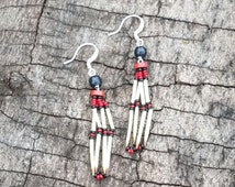 Porcupine quills jewelry, earrings porcupine quills, native american style, natural quills earrings, black beads, ooak, southwest art  Q11