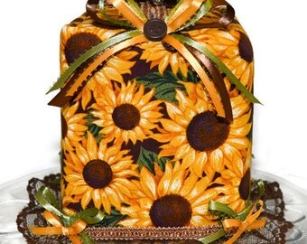 Tissue Box Cover Sunflowers Fall Autumn Leaves Buttons Ribbons Lace Seasonal Fall Harvest Autumn Handmade Fabric Tissue Dispenser M-136