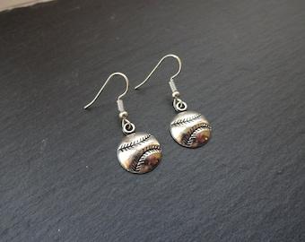 Baseball Earrings, Charm Earrings, Silver Earrings, Sport Earrings, Base Ball Earrings , Sport Jewellery