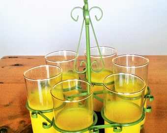 Mid Century Yellow Blendo Glasses in a Green Caddy