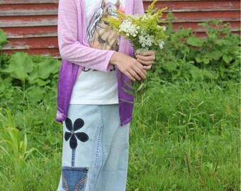 Girls Denim Skirt with Appliqued Flower Accent