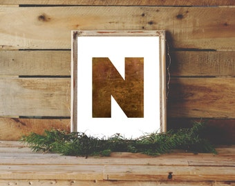 N Print, N Monogram Print, Nursery Monogram, Brown Printable, N Monogram, Masculine Printable, Brass Monogram, Monogram Download, Letter N