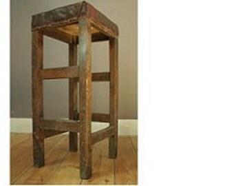 Mid century wooden machinists stool,
