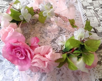 Rose Pink Vintage  Floral Crown ~  Bridal Garland ~  Headpiece ~  Bohemian ~ Renaissance ~