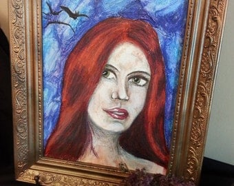 Original Painting, Framed Wiccan Art, Wicca Pagan, Art Red Head Witch Painting for Altar or Shrine Space