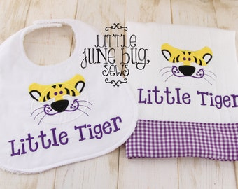 Bengal Tiger Bib and Burp Cloth Set, Zoo Animal Bib and Burp Cloth Set, Baby Shower Gift Set, Tiger Baby Gift