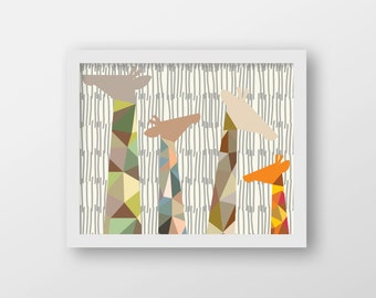 Geometric Giraffes Art Print - Children's Wall Art - Playroom Decor - Nursery Decor - Safari Decor