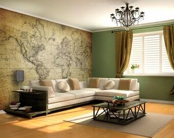 World map fabric etsy - Bande adhesive murale ...