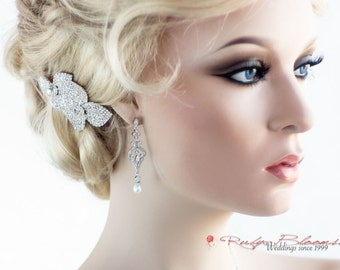 Bridal CZ Pearl Earrings, Silver Pearl Earrings, Cubic Zirconia Earrings, Bridesmaid Earring, Pearl Drop Earring Crystal Silver Earrings