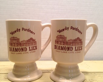Diamond Lils Salt Lake City Howdy Pardner Footed Pedestal Coffee Mug