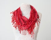 Lace Scarf  Dark Red Scarf Lace Fringe Scarf Triangle Scarf Fringe Shawl Lace Headband Fashion Accessory Women Accessory Summer scarf