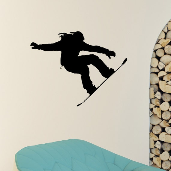 Snowboard wall decal vinyl sticker snowboarding jumping snow for Snowboard decor