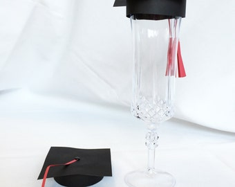 Graduation Cap Champagne Flute Topper, set of 10 - Graduation Party - Graduation Party Decor - Graduation - Graduation Toast- Toasting Glass