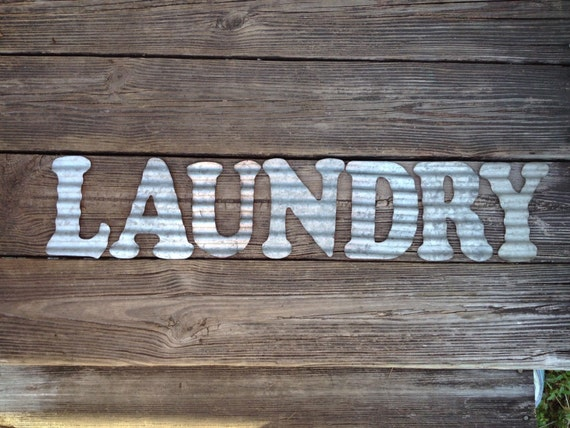 galvanized metal letters laundry industrial wall decor. Black Bedroom Furniture Sets. Home Design Ideas