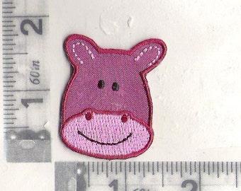 Happy purple Hippo head iron on patch