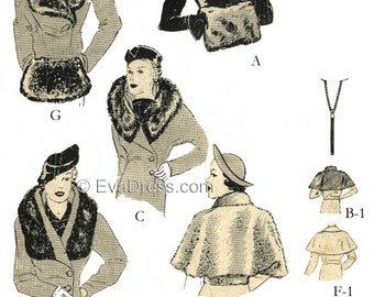 1936 Capes, Muff & Collars EvaDress Pattern