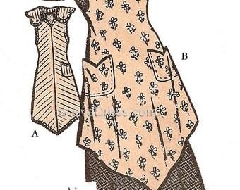 "1940s One-Yard Apron Pattern 36-38"" bust"