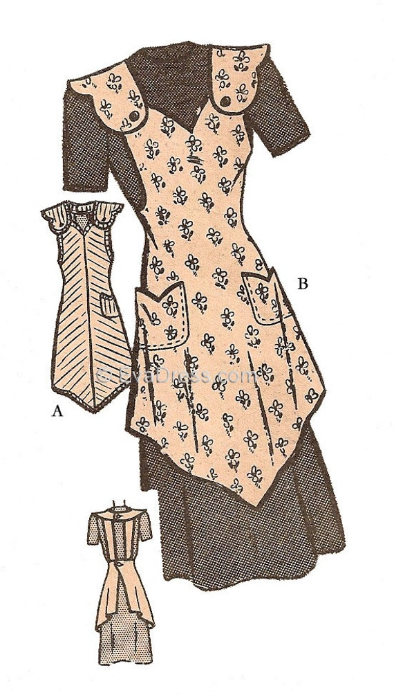 1940s Sewing Patterns – Dresses, Overalls, Lingerie etc 1940s One-Yard Apron Pattern 36-38 bust $8.00 AT vintagedancer.com