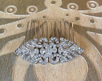 Art Deco rhinestone hair comb, rhinestone, 1920s, weddings, rustic, bridal, jewelry, country, decorative, hair comb, Art Deco, hair slide