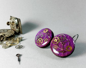 Round wooden earrings, Steampunk resin earrings, Steampunk jewelry, Steampunk resin jewelry, Wooden earrings, Dangle earrings,