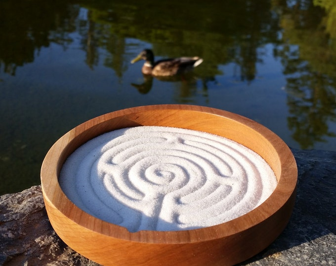 Zen Labyrinth, Sand Labyrinth, Solid Cherry wood, 6 inch circle