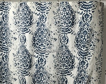 Fabric Shower Curtain Premier Prints Manchester Premier Navy blue White long shower curtain 72 x 84 72 x 90 Custom shower curtain