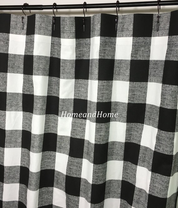 Custom Fabric Shower Curtain Buffalo Check Black White 72 X 84
