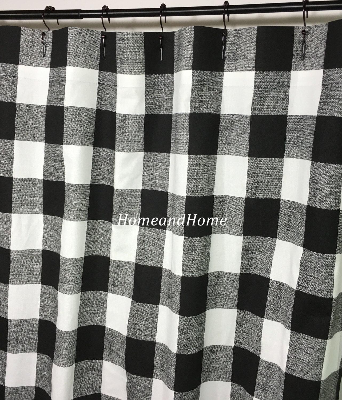 Custom Fabric Shower Curtain Buffalo Check Black White 72 X 84