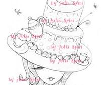 Digital Stamp, Digi, Coloring, Hat stamps, Cake stamp, Tea stamps, Girl stamp, Strawberry, Fantasy. The Hat Collection. The Cake Hat