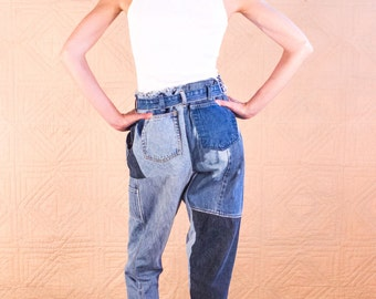 Handmade recycled denim patchwork pants by SilkDenim -1 of a kind