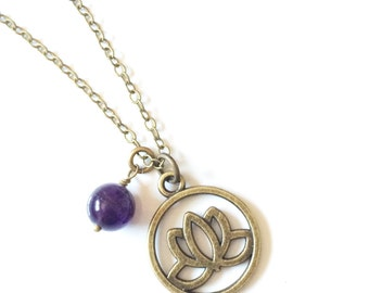 Lotus Necklace, Lotus Pendant Necklace, Flower Necklace, Zen Jewelry, Nature Jewelry, Lotus Jewelry, Yoga Gifts, Encouragement Gift