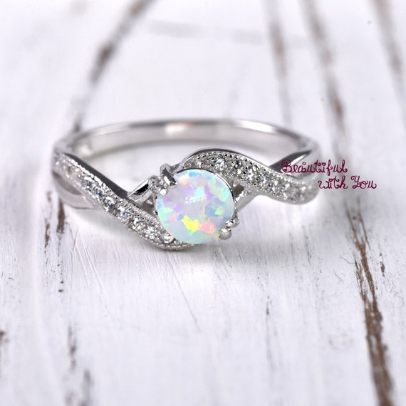 Wedding Ring Women Opal Wedding Ring Lab Created White Opal