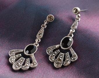1920s Earrings, Art Deco Earrings, Bridal Earrings, Wedding Earrings, Silver Earrings, Art Deco Jewelry, Bridal Jewelry, Deco Jewelry E1366