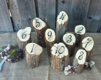 Rustic Wedding Table Numbers- Juniper Log Table Numbers ~ Country Wedding Table Numbers, Rustic Wedding Decor ~ Spring Wedding