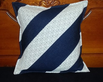 Denim and Eyelet Decorative Pillow Cover