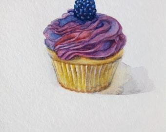 Cupcake Watercolor Painting, Cupcake Illustration, Kitchen Wall Art, 8''x10'', Food Art, Dessert Painting,