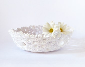 White Paper Bowl Handmade Basket Lightweight Vase Round Recycled Paper Upcycled Repurposed Eco-Friendly