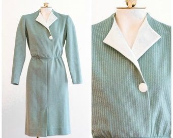 1970s sage green and ivory pinstripe dress from Leslie Fay