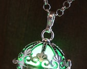 Green Ornate Glowing Orb Pendant Necklace Infinity Stones Locket Antique Silver Tone, Fairy glow Jewelry