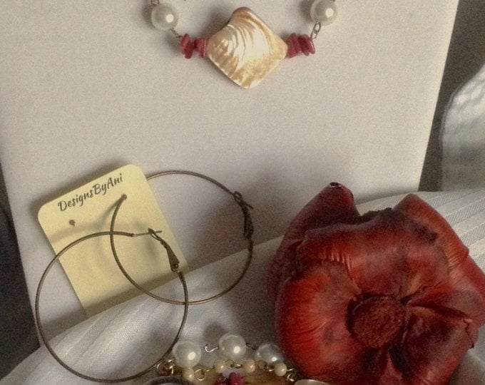 Cranberry\ Golden Brown Mother of Pearl Necklace and Watch Set (also sold seperately)