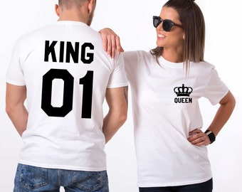 King and Queen shirts with Crowns, king and queen shirts, King 01, Queen 01 Couples T-shirt Set, King Queen shirts, 100% cotton Tee, UNISEX