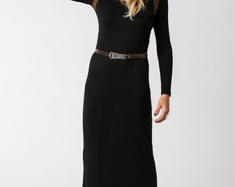 Oda Winter Dress, Black Bodycon Dress, Boho Dress, Casual Dress, Long Sleeve, Black Maxi Dress, Trendy Clothing