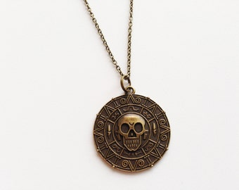 PIRATE MEDALLION Necklace Pirate Pendant Pirate Charm Pirates of the Caribbean Necklace Pirate Skull Necklace Pirate Skull Jewelry Pirates