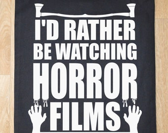 I'd rather be watching horror films tote bag - horror bag - tote bag - sling tote bag - horror tote bag - funny tote bag